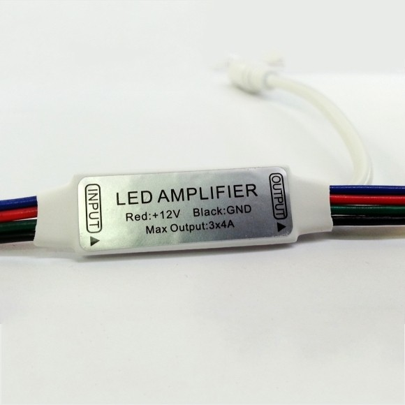 Mini RGB LED Amplifier 4 Pin Cable with Power Connector DC12V 24V 5pcs